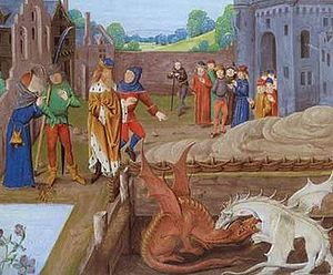 Vortigern and fighting red and white dragons from an old manuscript